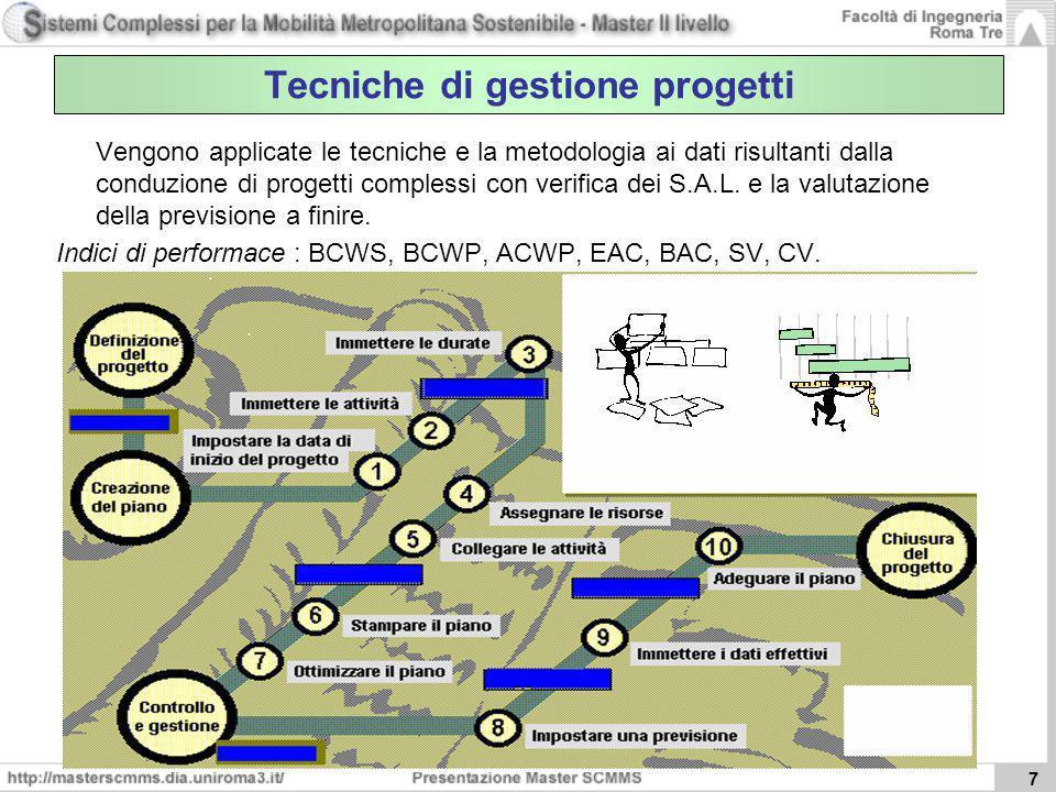 7 Vengono applicate le tecniche e la metodologia ai dati risultanti dalla conduzione di progetti complessi con verifica dei S.A.L. e la valutazione de