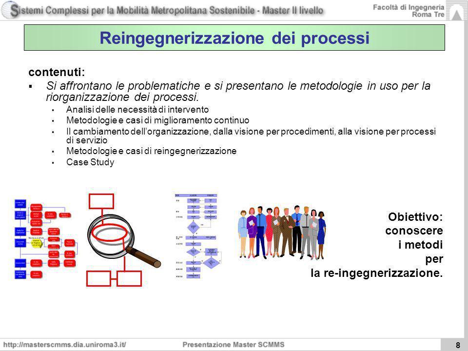 8 Reingegnerizzazione dei processi contenuti: Si affrontano le problematiche e si presentano le metodologie in uso per la riorganizzazione dei process