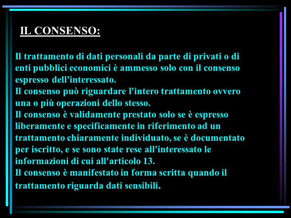 IL CONSENSO: Il trattamento di dati personali da parte di privati o di enti pubblici economici è ammesso solo con il consenso espresso dell'interessat
