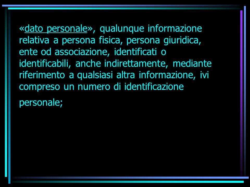«dato personale», qualunque informazione relativa a persona fisica, persona giuridica, ente od associazione, identificati o identificabili, anche indi