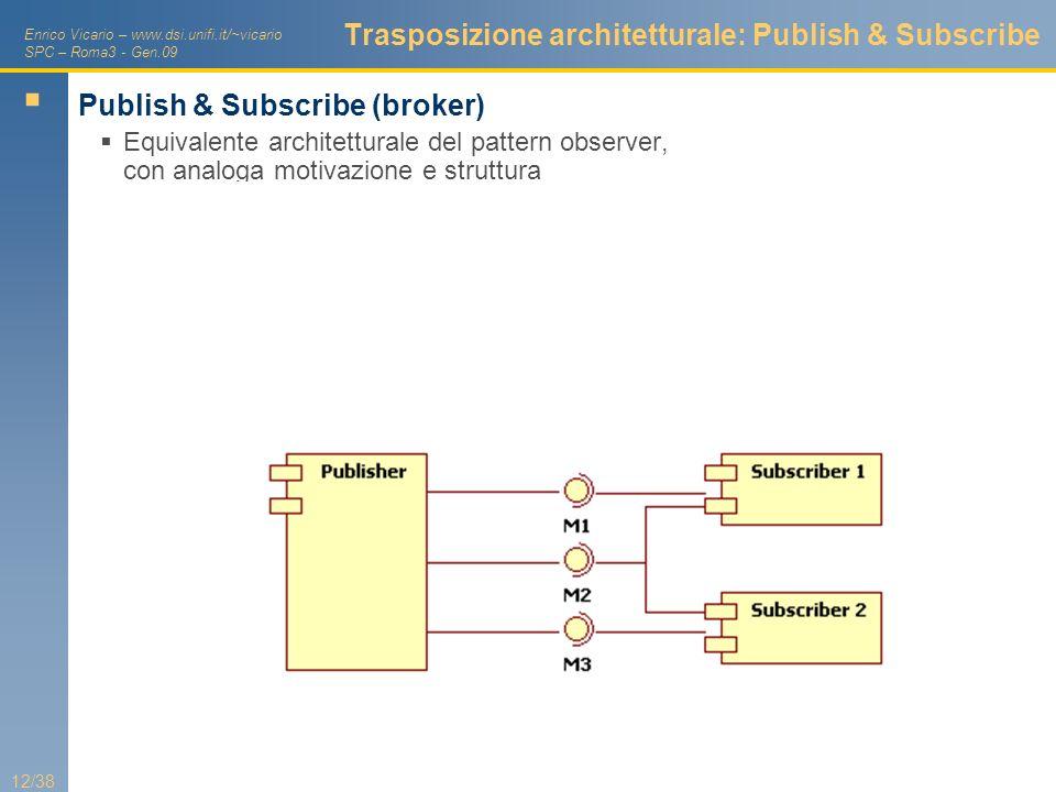 Enrico Vicario – www.dsi.unifi.it/~vicario SPC – Roma3 - Gen.09 12/38 Trasposizione architetturale: Publish & Subscribe Publish & Subscribe (broker) E