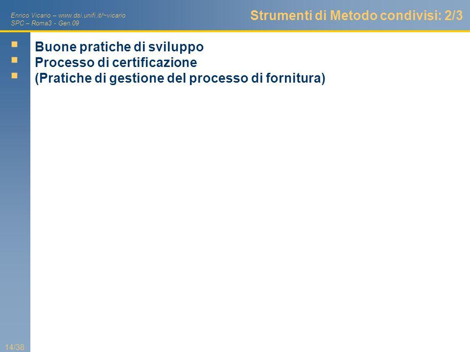 Enrico Vicario – www.dsi.unifi.it/~vicario SPC – Roma3 - Gen.09 14/38 Strumenti di Metodo condivisi: 2/3 Buone pratiche di sviluppo Processo di certif
