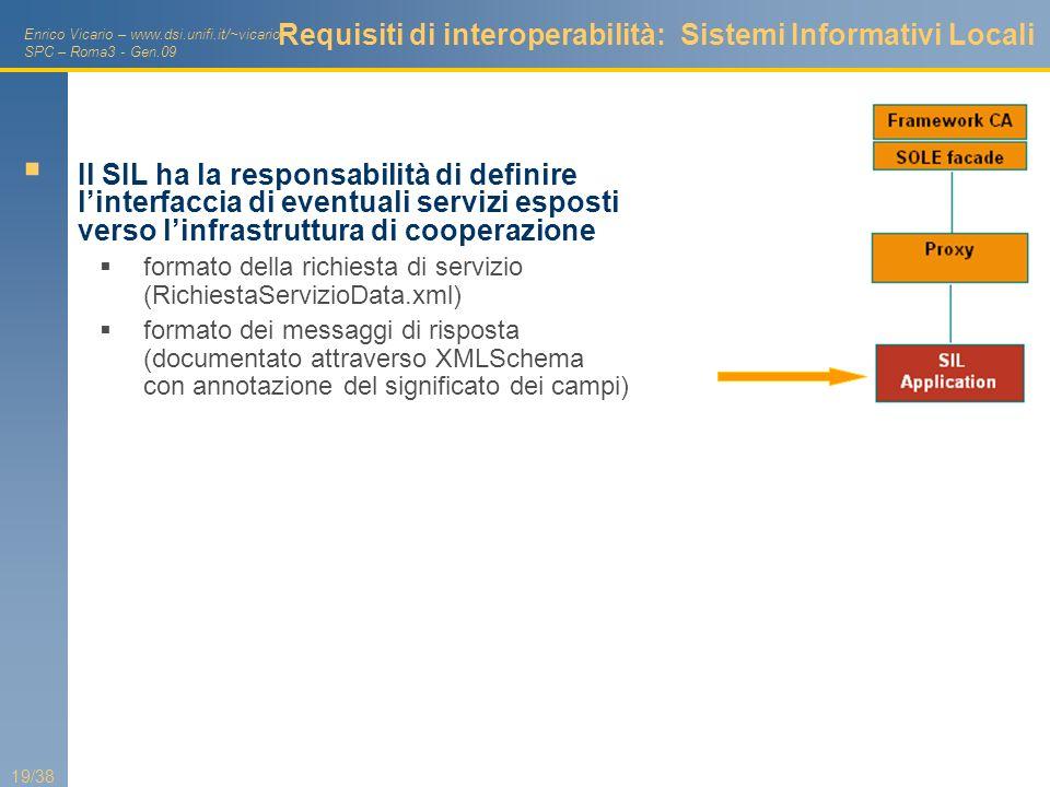 Enrico Vicario – www.dsi.unifi.it/~vicario SPC – Roma3 - Gen.09 19/38 Requisiti di interoperabilità: Sistemi Informativi Locali Il SIL ha la responsab