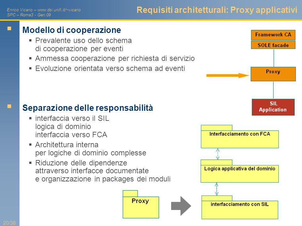 Enrico Vicario – www.dsi.unifi.it/~vicario SPC – Roma3 - Gen.09 20/38 Requisiti architetturali: Proxy applicativi Modello di cooperazione Prevalente u