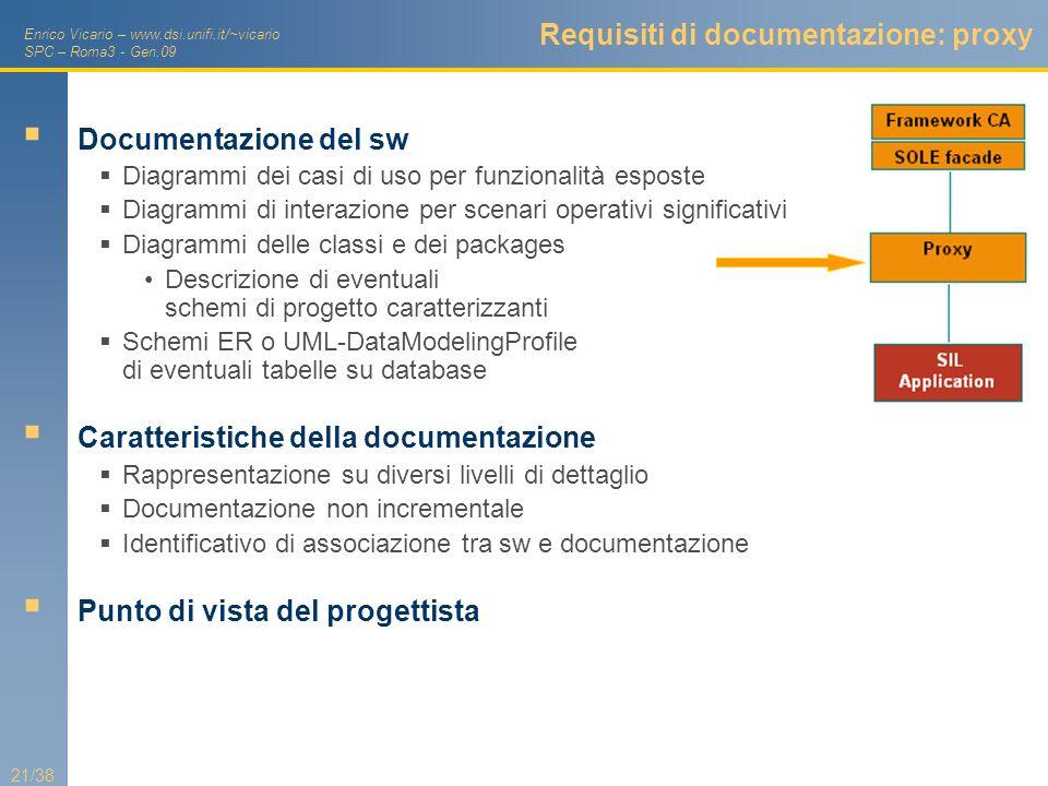 Enrico Vicario – www.dsi.unifi.it/~vicario SPC – Roma3 - Gen.09 21/38 Requisiti di documentazione: proxy Documentazione del sw Diagrammi dei casi di u
