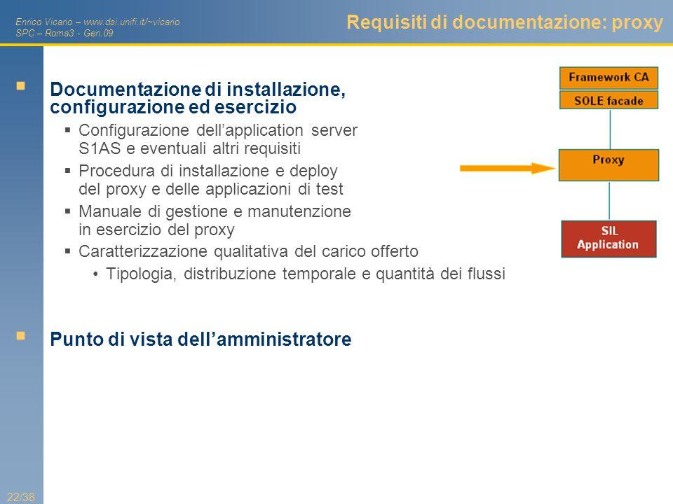 Enrico Vicario – www.dsi.unifi.it/~vicario SPC – Roma3 - Gen.09 22/38 Requisiti di documentazione: proxy Documentazione di installazione, configurazio