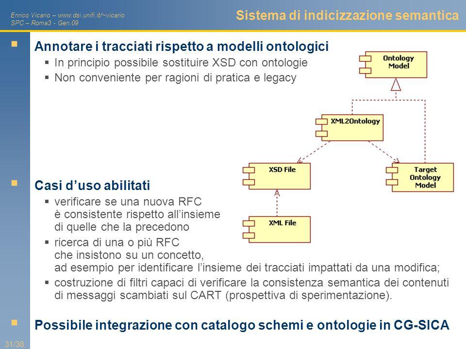 Enrico Vicario – www.dsi.unifi.it/~vicario SPC – Roma3 - Gen.09 31/38 Sistema di indicizzazione semantica Annotare i tracciati rispetto a modelli onto