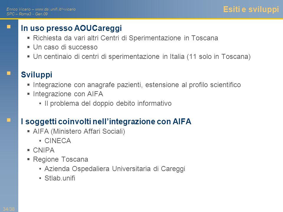 Enrico Vicario – www.dsi.unifi.it/~vicario SPC – Roma3 - Gen.09 34/38 Esiti e sviluppi In uso presso AOUCareggi Richiesta da vari altri Centri di Sper