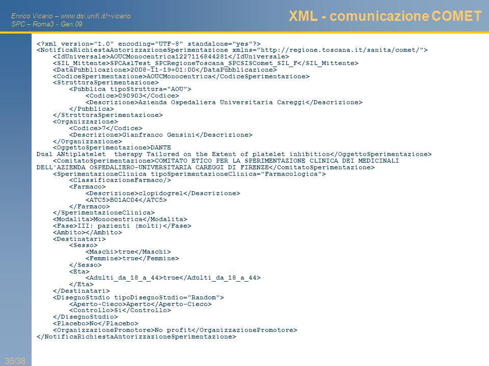 Enrico Vicario – www.dsi.unifi.it/~vicario SPC – Roma3 - Gen.09 35/38 XML - comunicazione COMET AOUCMonocentrica1227116844281 SPCAslTest_SPCRegioneTos
