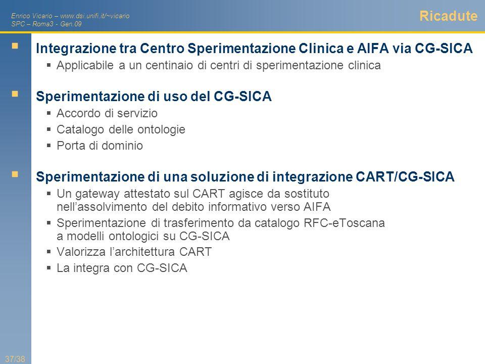 Enrico Vicario – www.dsi.unifi.it/~vicario SPC – Roma3 - Gen.09 37/38 Ricadute Integrazione tra Centro Sperimentazione Clinica e AIFA via CG-SICA Appl