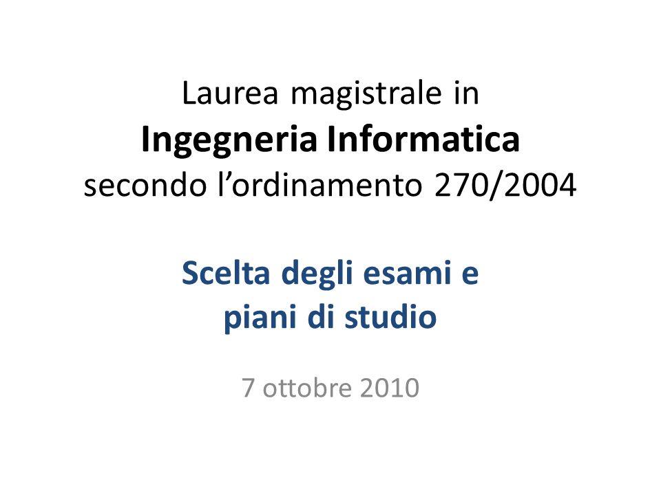 Laurea magistrale in Ingegneria Informatica secondo lordinamento 270/2004 Scelta degli esami e piani di studio 7 ottobre 2010