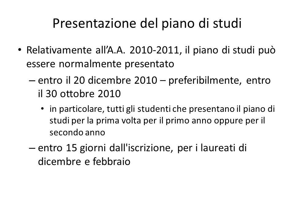Presentazione del piano di studi Relativamente allA.A. 2010-2011, il piano di studi può essere normalmente presentato – entro il 20 dicembre 2010 – pr