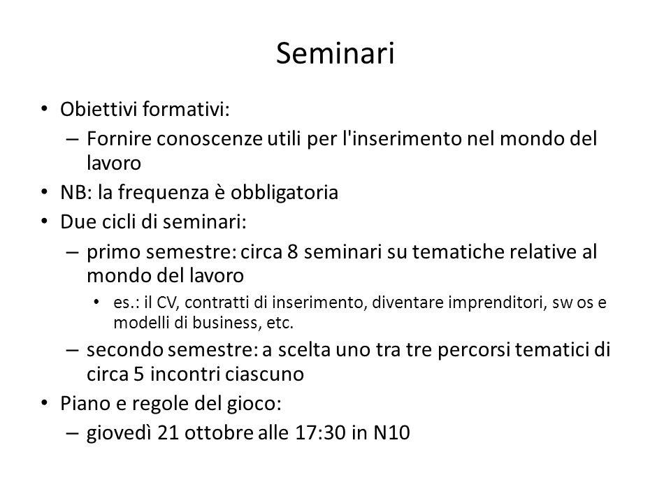 Seminari Obiettivi formativi: – Fornire conoscenze utili per l'inserimento nel mondo del lavoro NB: la frequenza è obbligatoria Due cicli di seminari: