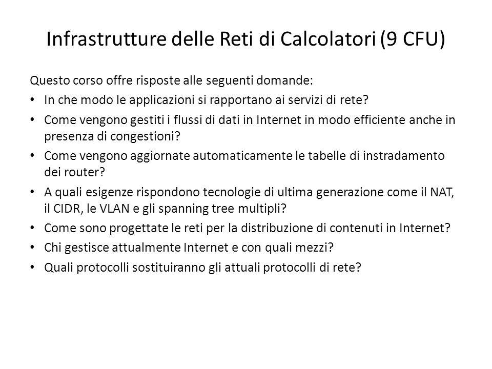 Infrastrutture delle Reti di Calcolatori (9 CFU) Questo corso offre risposte alle seguenti domande: In che modo le applicazioni si rapportano ai servi