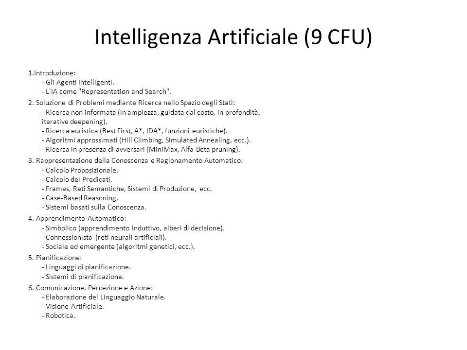 Intelligenza Artificiale (9 CFU) 1.Introduzione: - Gli Agenti Intelligenti. - L'IA come