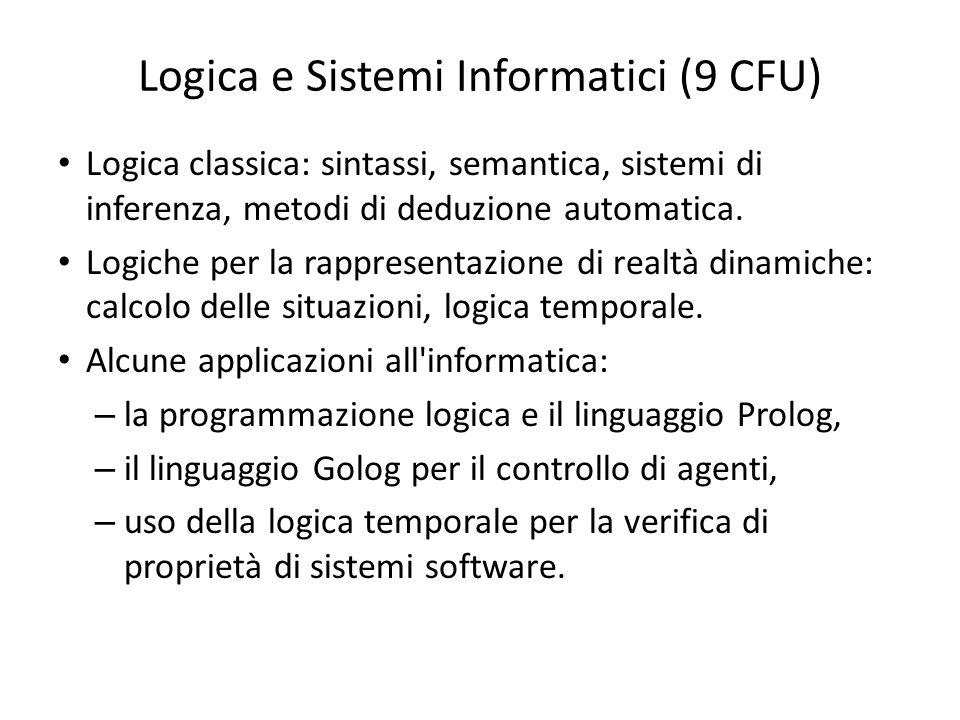 Logica e Sistemi Informatici (9 CFU) Logica classica: sintassi, semantica, sistemi di inferenza, metodi di deduzione automatica. Logiche per la rappre