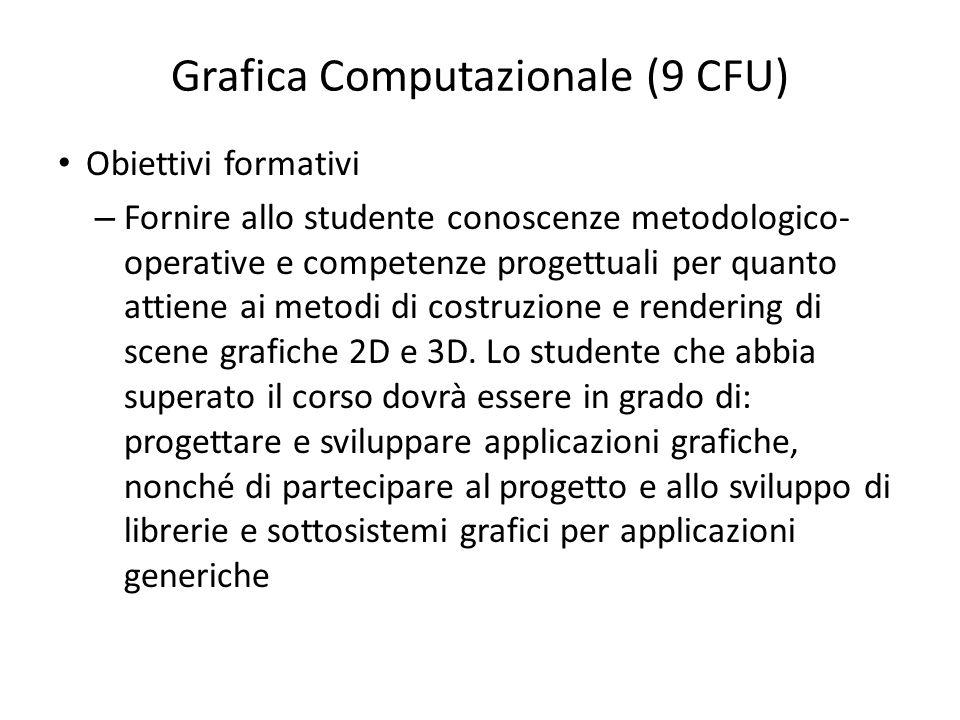 Grafica Computazionale (9 CFU) Obiettivi formativi – Fornire allo studente conoscenze metodologico- operative e competenze progettuali per quanto atti