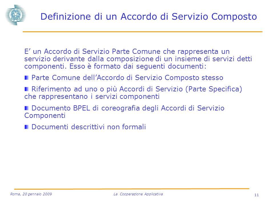 Definizione di un Accordo di Servizio Composto E un Accordo di Servizio Parte Comune che rappresenta un servizio derivante dalla composizione di un insieme di servizi detti componenti.