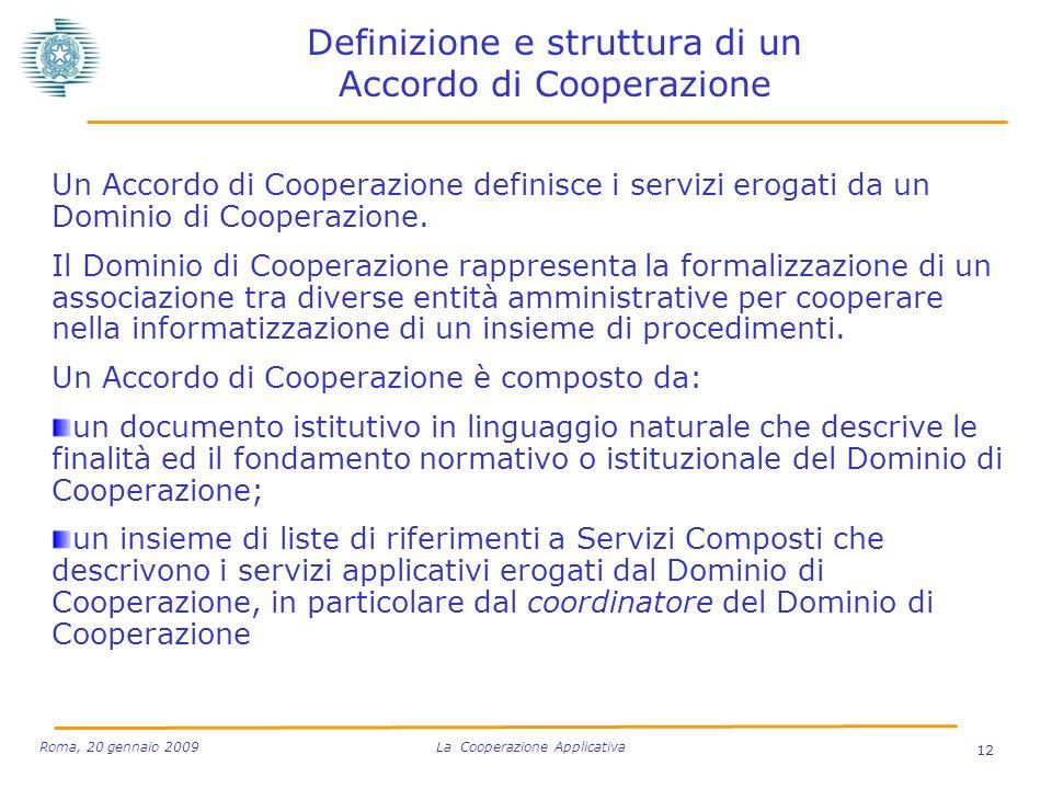 Definizione e struttura di un Accordo di Cooperazione Un Accordo di Cooperazione definisce i servizi erogati da un Dominio di Cooperazione.