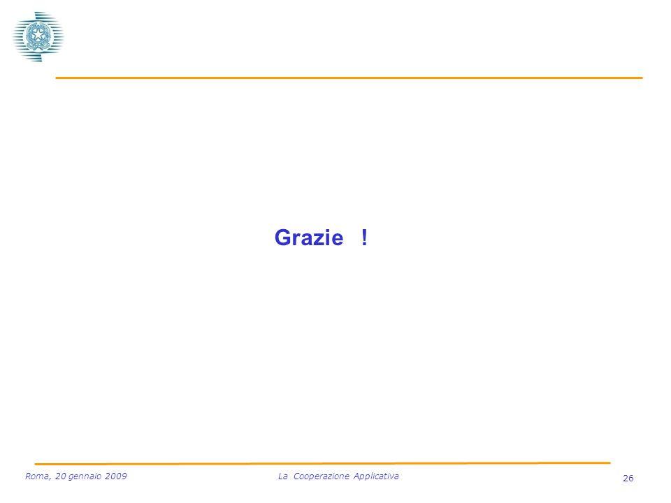 Grazie ! 26 Roma, 20 gennaio 2009 La Cooperazione Applicativa