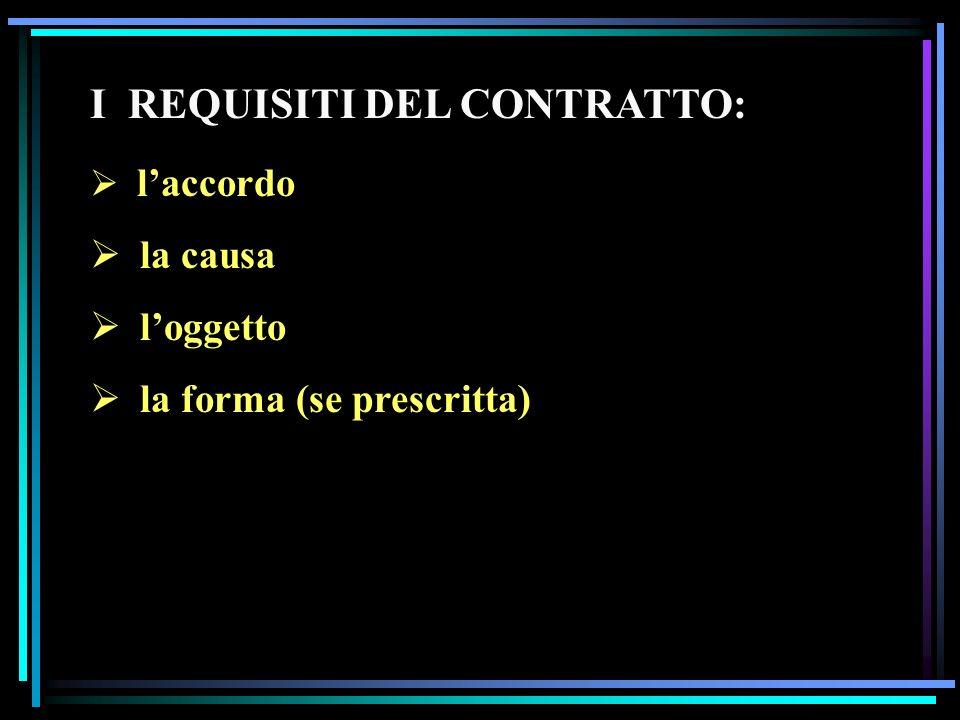 I REQUISITI DEL CONTRATTO: laccordo la causa loggetto la forma (se prescritta)