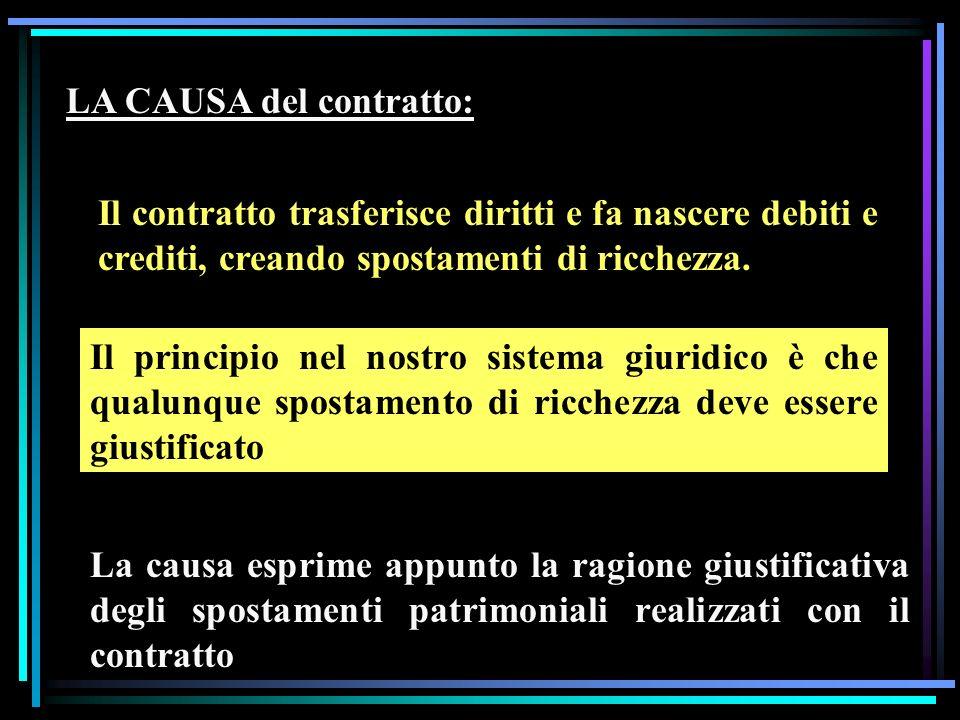 LA CAUSA del contratto: Il contratto trasferisce diritti e fa nascere debiti e crediti, creando spostamenti di ricchezza.