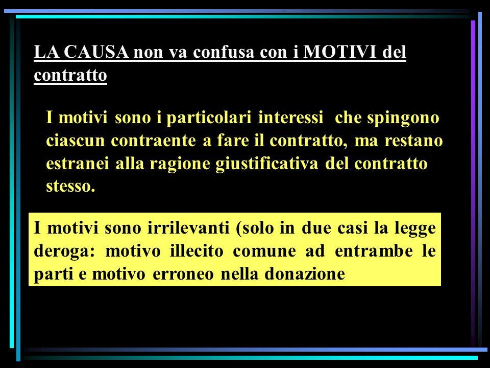 LA CAUSA non va confusa con i MOTIVI del contratto I motivi sono i particolari interessi che spingono ciascun contraente a fare il contratto, ma restano estranei alla ragione giustificativa del contratto stesso.