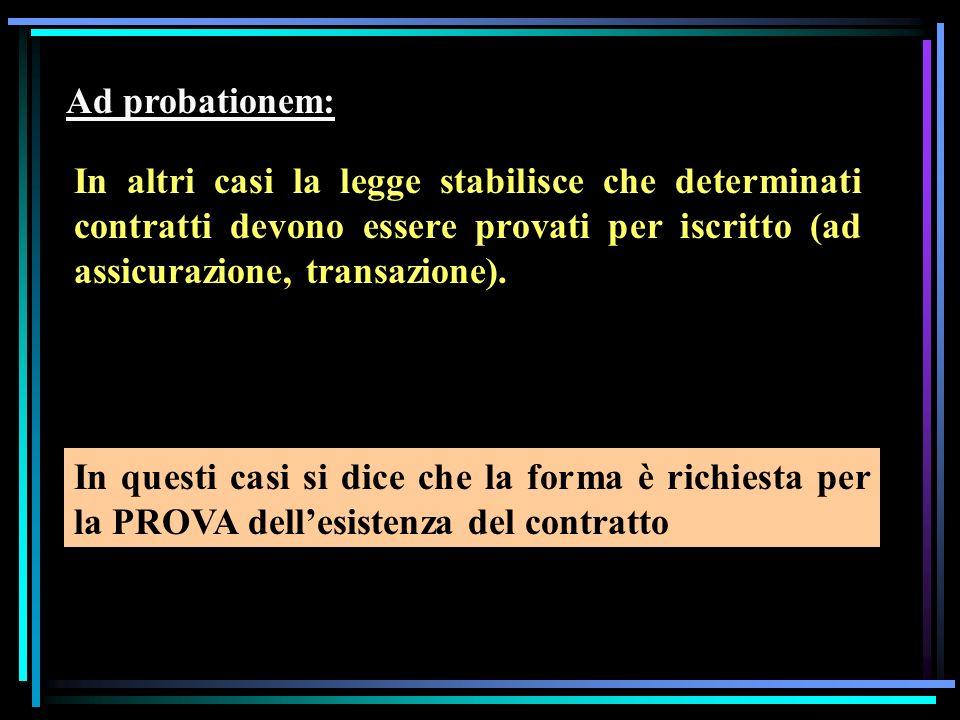 Ad probationem: In altri casi la legge stabilisce che determinati contratti devono essere provati per iscritto (ad assicurazione, transazione). In que