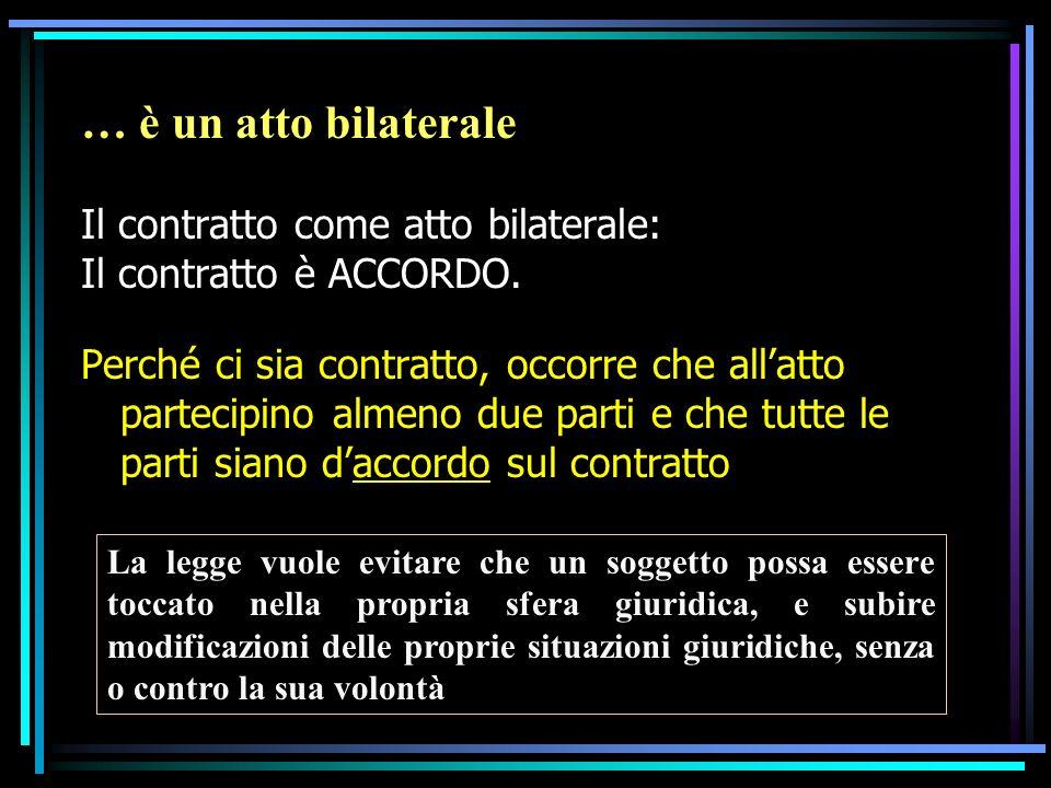 … è un atto bilaterale Il contratto come atto bilaterale: Il contratto è ACCORDO. Perché ci sia contratto, occorre che allatto partecipino almeno due
