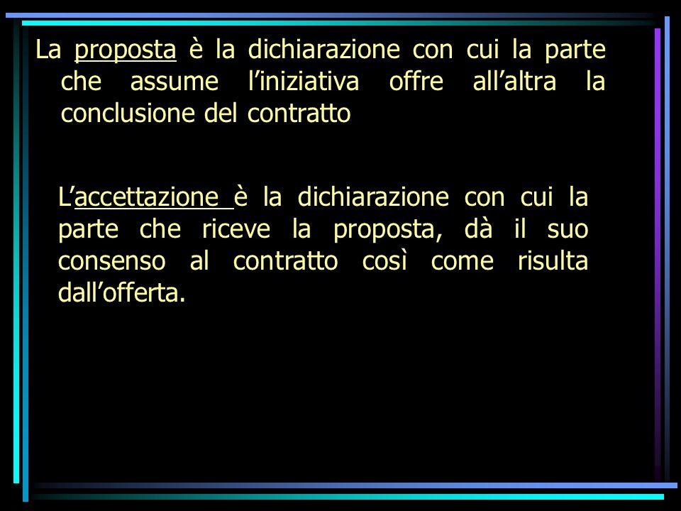 La proposta è la dichiarazione con cui la parte che assume liniziativa offre allaltra la conclusione del contratto Laccettazione è la dichiarazione con cui la parte che riceve la proposta, dà il suo consenso al contratto così come risulta dallofferta.