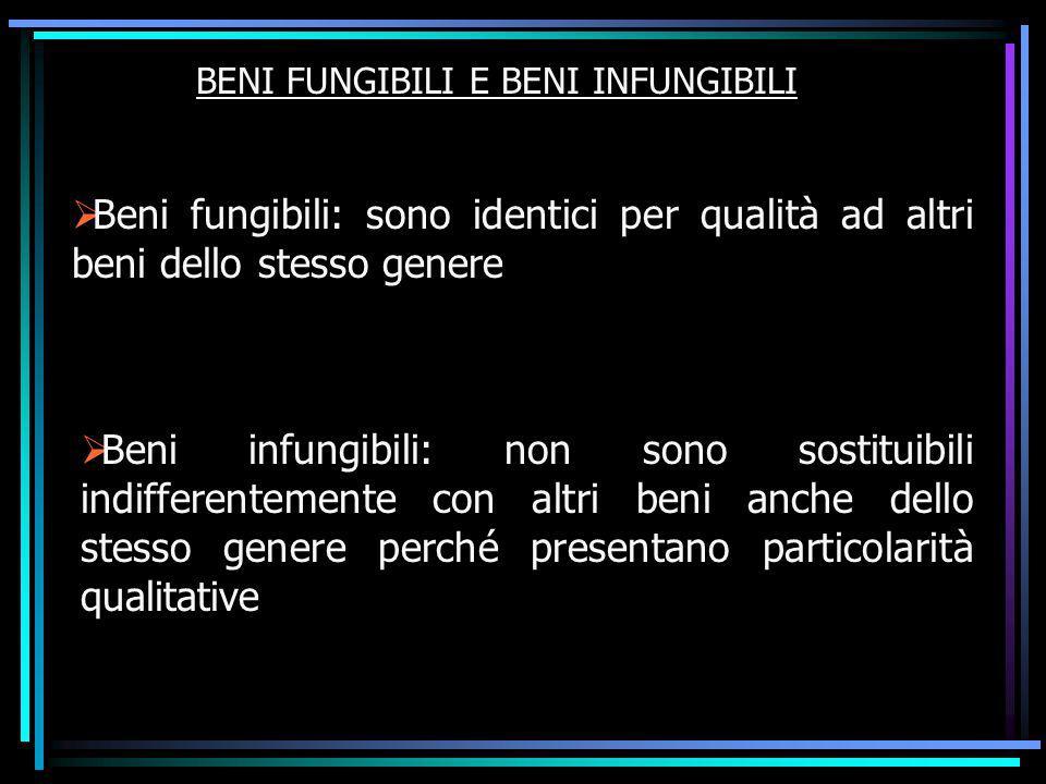BENI FUNGIBILI E BENI INFUNGIBILI Beni fungibili: sono identici per qualità ad altri beni dello stesso genere Beni infungibili: non sono sostituibili