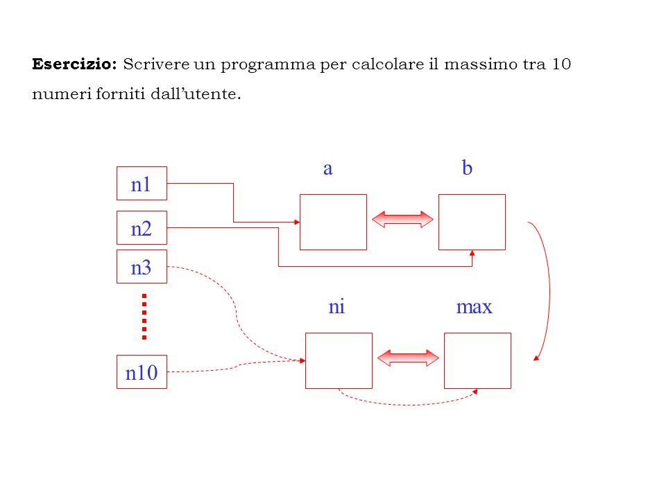 Esercizio: Scrivere un programma per calcolare il massimo tra 10 numeri forniti dallutente. n1 n10 n2 n3 ab nimax