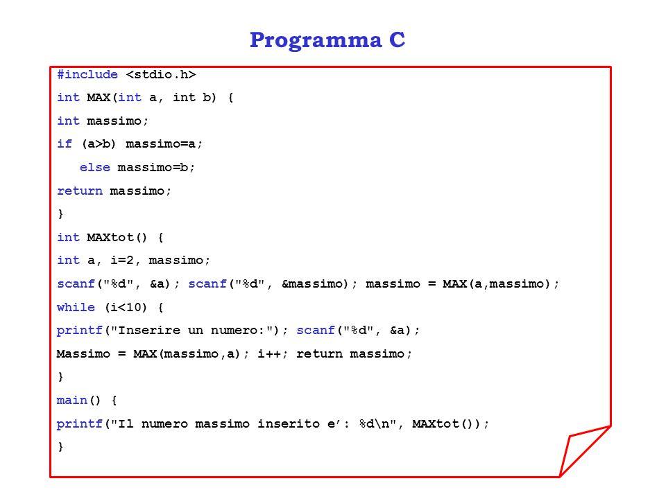Programma C #include int MAX(int a, int b) { int massimo; if (a>b) massimo=a; else massimo=b; return massimo; } int MAXtot() { int a, i=2, massimo; scanf( %d , &a); scanf( %d , &massimo); massimo = MAX(a,massimo); while (i<10) { printf( Inserire un numero: ); scanf( %d , &a); Massimo = MAX(massimo,a); i++; return massimo; } main() { printf( Il numero massimo inserito e: %d\n , MAXtot()); }