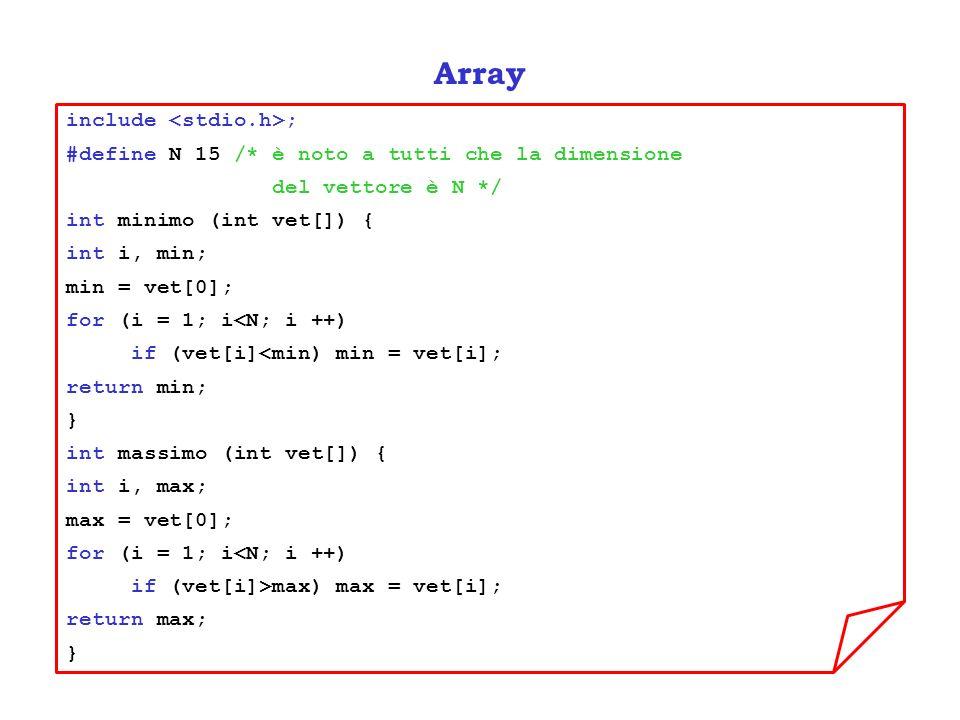Array include ; #define N 15 /* è noto a tutti che la dimensione del vettore è N */ int minimo (int vet[]) { int i, min; min = vet[0]; for (i = 1; i<N; i ++) if (vet[i]<min) min = vet[i]; return min; } int massimo (int vet[]) { int i, max; max = vet[0]; for (i = 1; i<N; i ++) if (vet[i]>max) max = vet[i]; return max; }