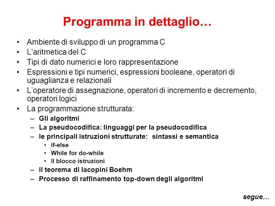 Programma in dettaglio… Ambiente di sviluppo di un programma C Laritmetica del C Tipi di dato numerici e loro rappresentazione Espressioni e tipi nume