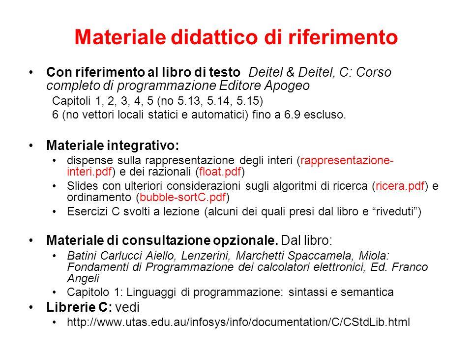 Materiale didattico di riferimento Con riferimento al libro di testo Deitel & Deitel, C: Corso completo di programmazione Editore Apogeo Capitoli 1, 2