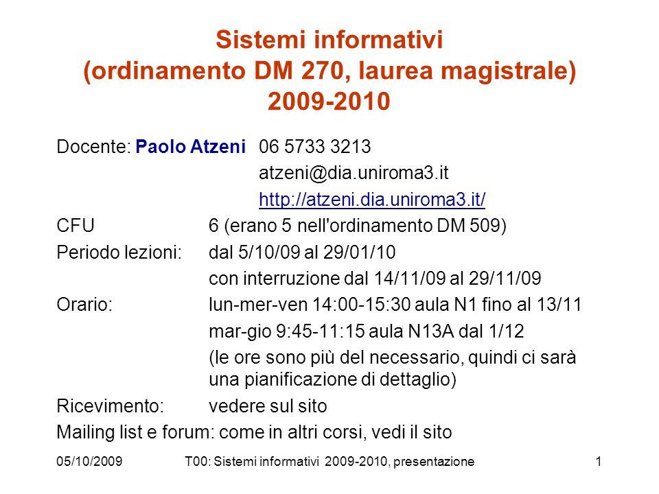 05/10/2009T00: Sistemi informativi 2009-2010, presentazione1 Sistemi informativi (ordinamento DM 270, laurea magistrale) 2009-2010 Docente: Paolo Atze