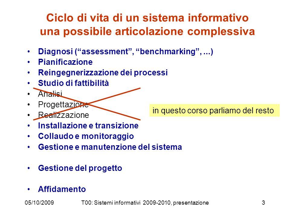 05/10/2009T00: Sistemi informativi 2009-2010, presentazione3 Ciclo di vita di un sistema informativo una possibile articolazione complessiva Diagnosi