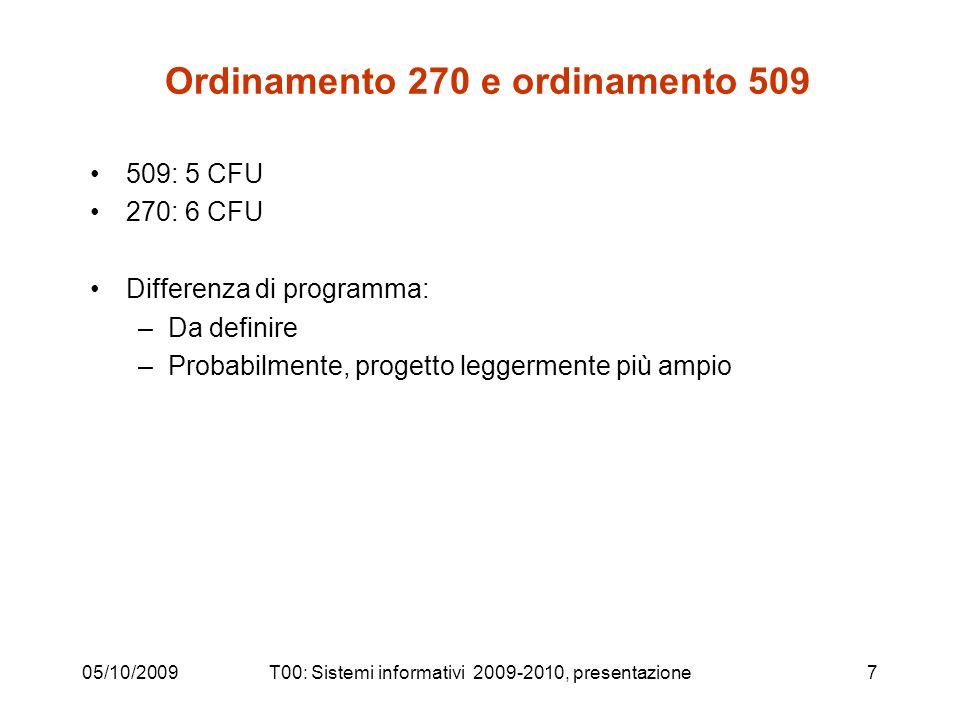 Ordinamento 270 e ordinamento 509 509: 5 CFU 270: 6 CFU Differenza di programma: –Da definire –Probabilmente, progetto leggermente più ampio 05/10/200