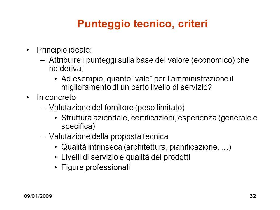 09/01/200932 Punteggio tecnico, criteri Principio ideale: –Attribuire i punteggi sulla base del valore (economico) che ne deriva; Ad esempio, quanto vale per lamministrazione il miglioramento di un certo livello di servizio.