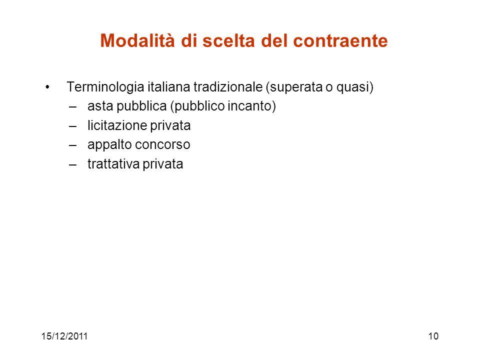 15/12/201110 Modalità di scelta del contraente Terminologia italiana tradizionale (superata o quasi) – asta pubblica (pubblico incanto) – licitazione