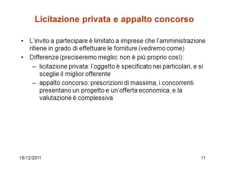 15/12/201111 Licitazione privata e appalto concorso Linvito a partecipare è limitato a imprese che lamministrazione ritiene in grado di effettuare le