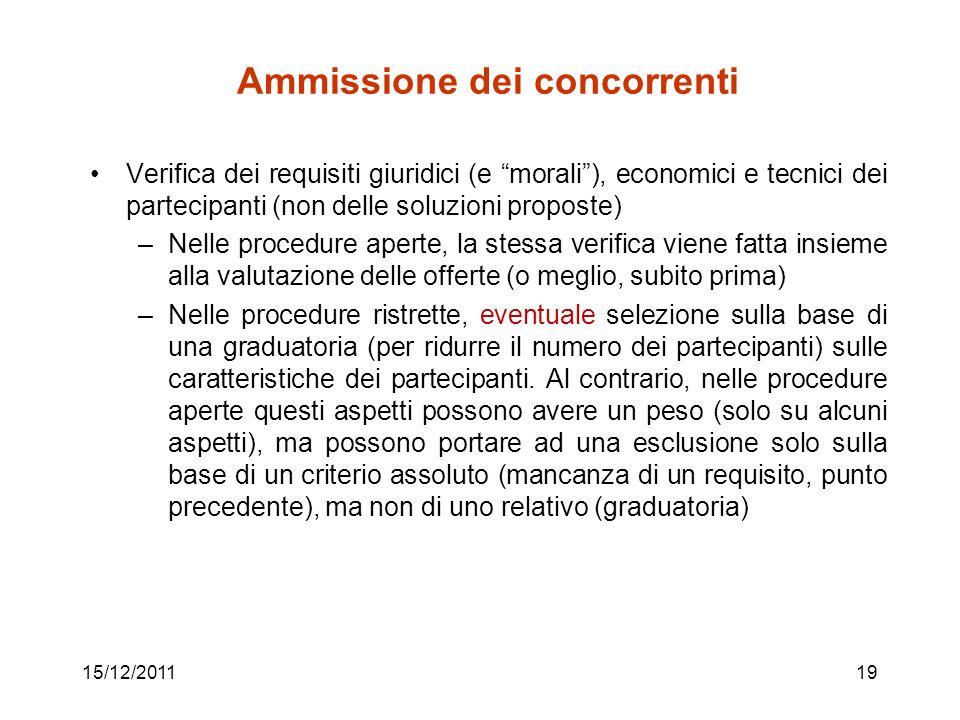 15/12/201119 Ammissione dei concorrenti Verifica dei requisiti giuridici (e morali), economici e tecnici dei partecipanti (non delle soluzioni propost