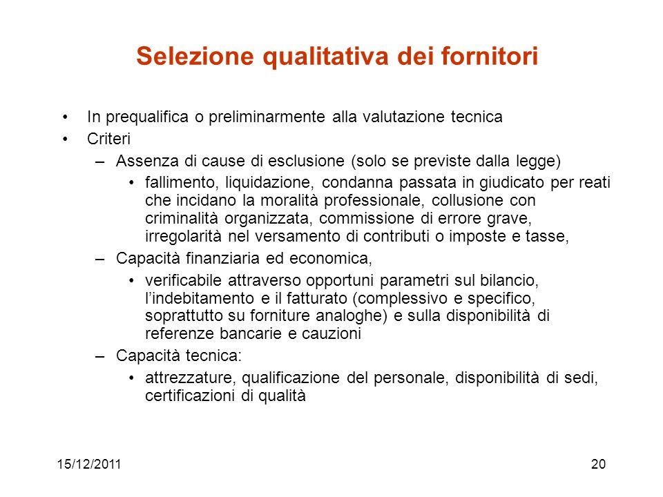 15/12/201120 Selezione qualitativa dei fornitori In prequalifica o preliminarmente alla valutazione tecnica Criteri –Assenza di cause di esclusione (s