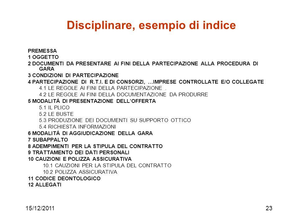15/12/201123 Disciplinare, esempio di indice PREMESSA 1 OGGETTO 2 DOCUMENTI DA PRESENTARE AI FINI DELLA PARTECIPAZIONE ALLA PROCEDURA DI GARA 3 CONDIZ