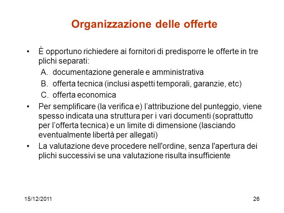 15/12/201126 Organizzazione delle offerte È opportuno richiedere ai fornitori di predisporre le offerte in tre plichi separati: A.documentazione gener