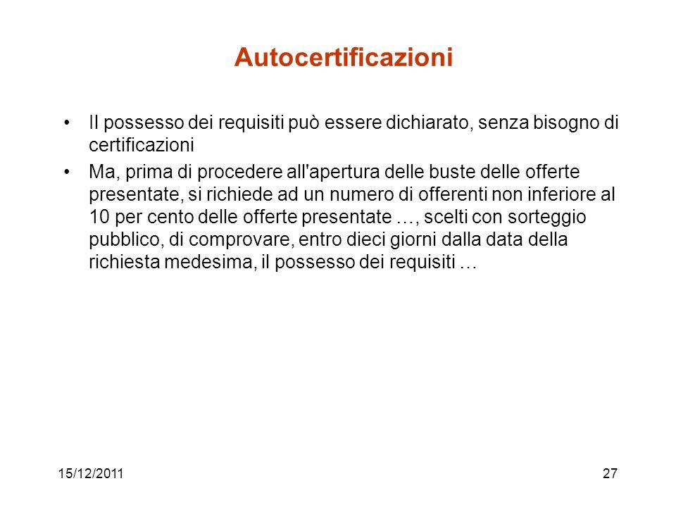 15/12/201127 Autocertificazioni Il possesso dei requisiti può essere dichiarato, senza bisogno di certificazioni Ma, prima di procedere all'apertura d