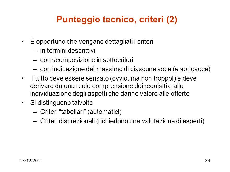 15/12/201134 Punteggio tecnico, criteri (2) È opportuno che vengano dettagliati i criteri –in termini descrittivi –con scomposizione in sottocriteri –