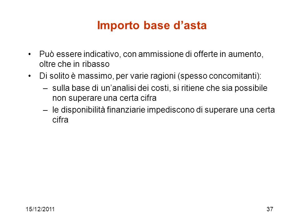 15/12/201137 Importo base dasta Può essere indicativo, con ammissione di offerte in aumento, oltre che in ribasso Di solito è massimo, per varie ragio