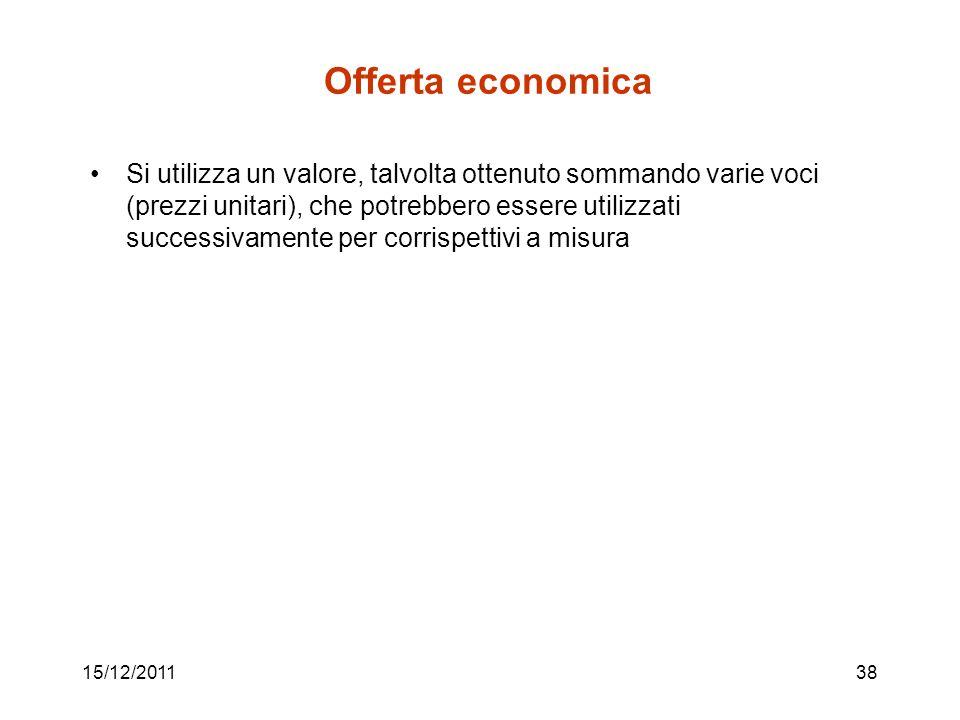 15/12/201138 Offerta economica Si utilizza un valore, talvolta ottenuto sommando varie voci (prezzi unitari), che potrebbero essere utilizzati success